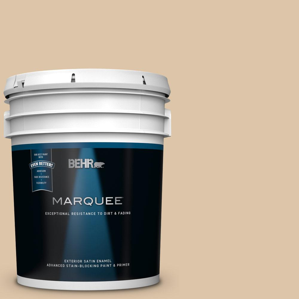5 gal. #PPU4-13 Sand Motif Satin Enamel Exterior Paint and Primer in One