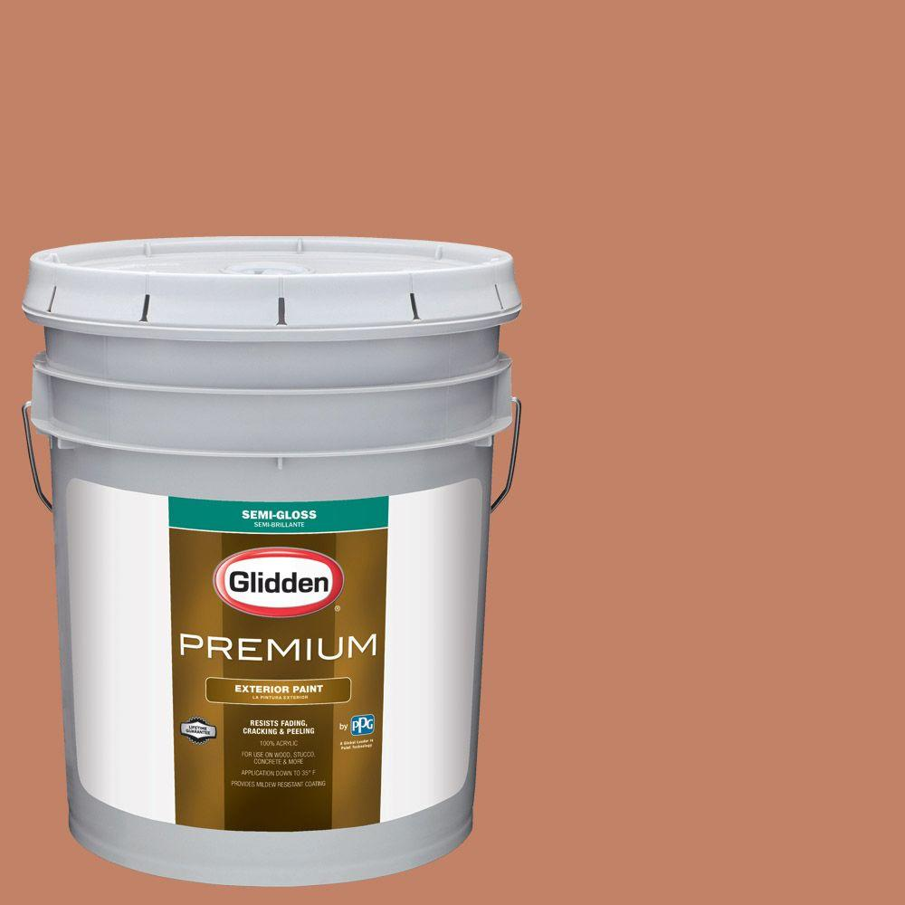 5-gal. #HDGO12U Dusty Terra Cotta Semi-Gloss Latex Exterior Paint