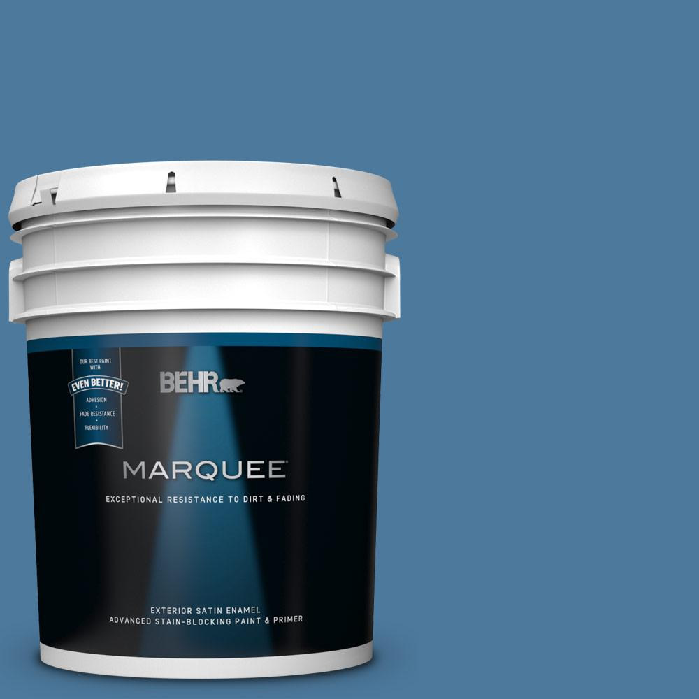 5 gal. #PPU14-02 Glass Sapphire Satin Enamel Exterior Paint and Primer in One