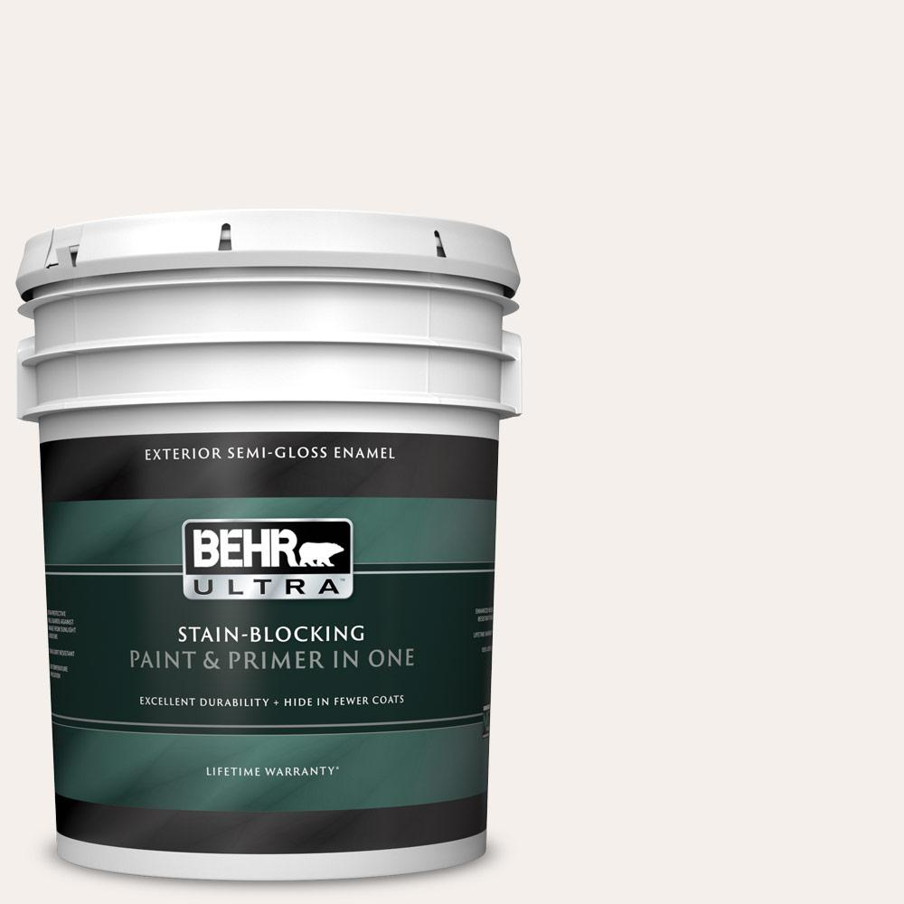 5 gal. #GR-W15 Palais White Semi-Gloss Enamel Exterior Paint and Primer in One