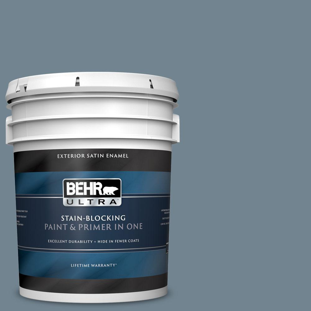 5 gal. #PPU14-05 Forever Denim Satin Enamel Exterior Paint and Primer in One