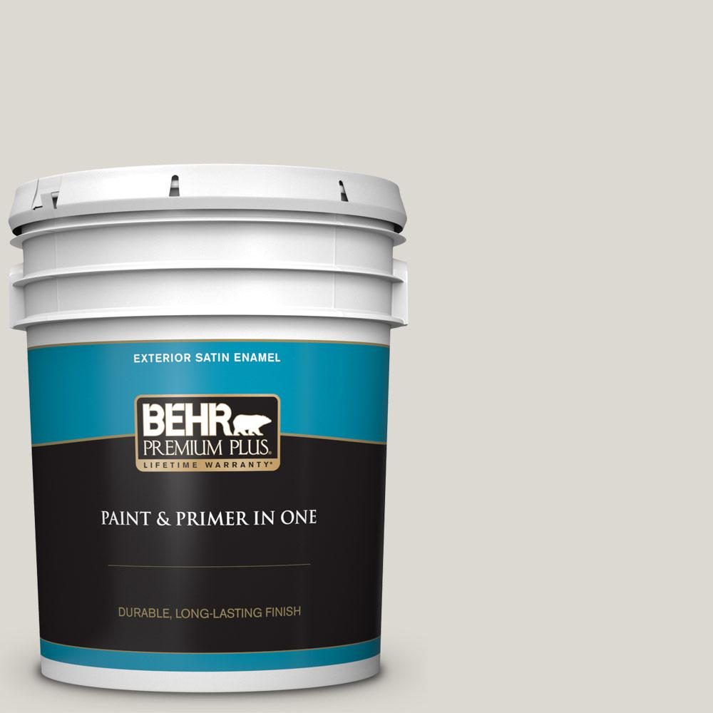 5 gal. #790C-2 Silver Drop Satin Enamel Exterior Paint and Primer in One