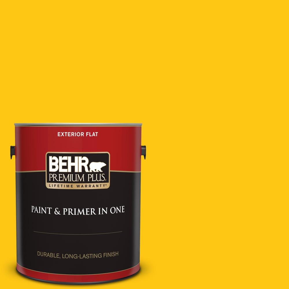 1 gal. #P300-7 Unmellow Yellow Flat Exterior Paint and Primer in One