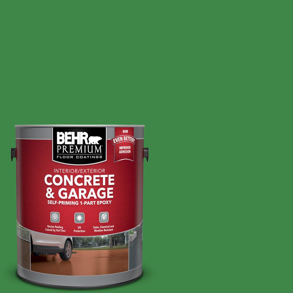 1 gal. #P400-7 Paradise of Greenery Self-Priming 1-Part Epoxy Satin Interior/Exterior Concrete and Garage Floor Paint